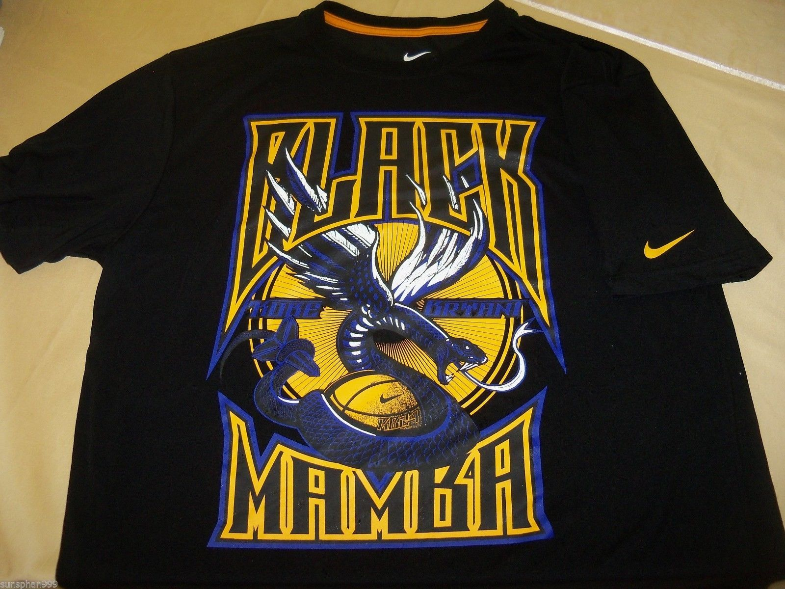 1332b782 LA Los Angeles LAKERS NBA T Shirt L Nike DRI FIT KOBE BRYANT - BLACK MAMBA