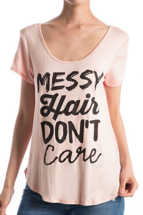 Mint Messy Hair Don't Care Printed Top (Taupe Pictured)