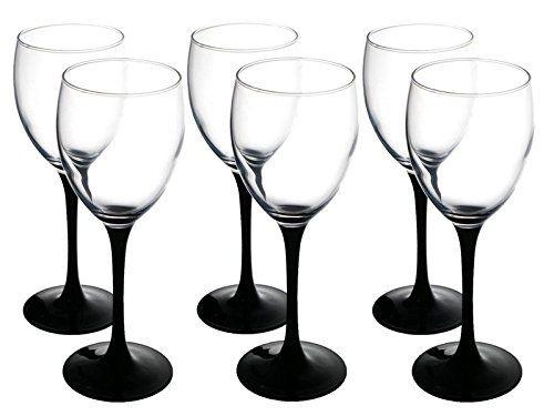 Red Wine Glasses 330 ml Set of 6 Black Long Stem 20cm tall: Amazon.co.uk: Kitchen & Home