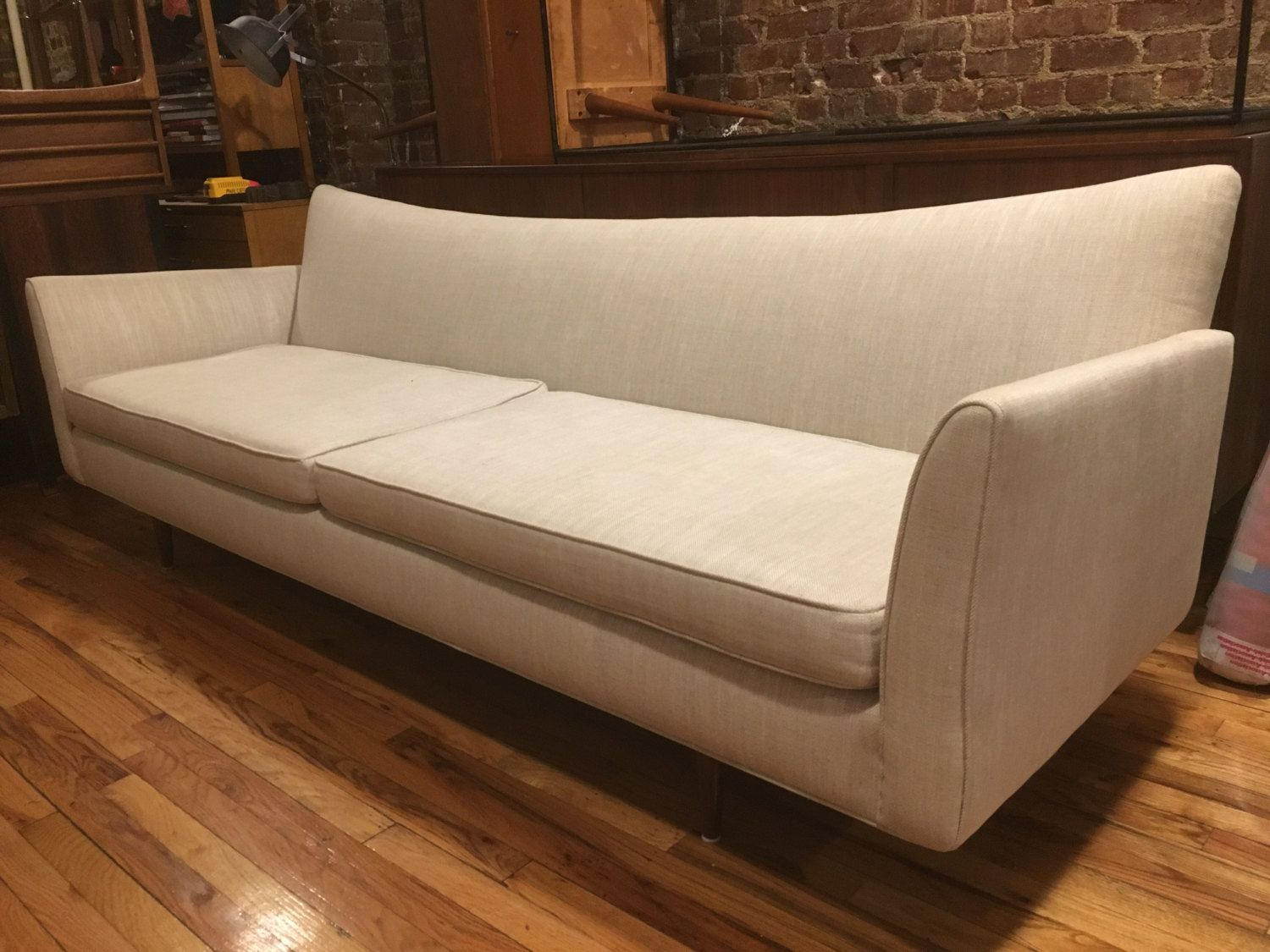 Exceptional Midcentury Modern Mccobb Style Long Low Sofa Couch White Beautiful Long  Offwhite Mid Century Sofa With