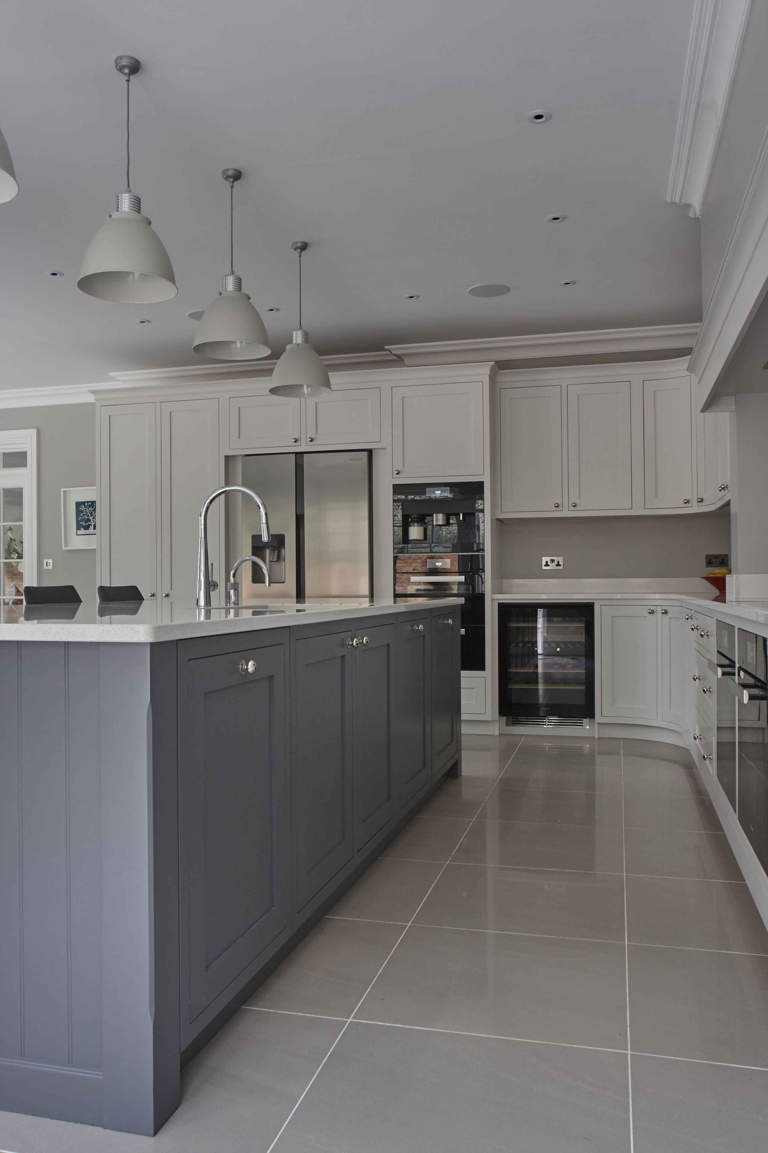 Stunning hand painted shaker kitchen silestone quartz work surface