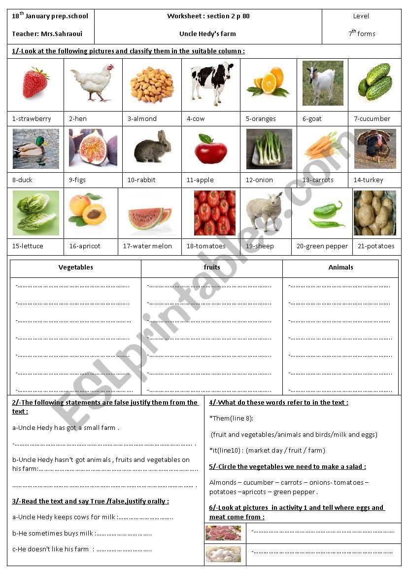 Uncle Hedy S Farm Esl Worksheet By Moemendhia In 2021 Farm Vocabulary Worksheets Worksheets [ 1169 x 826 Pixel ]