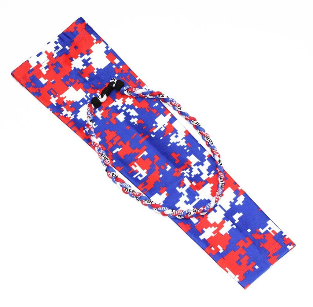 a7ae1c23da Red blue white American flag camo baseball compression arm sleeve with 20  inches baseball tornado necklace