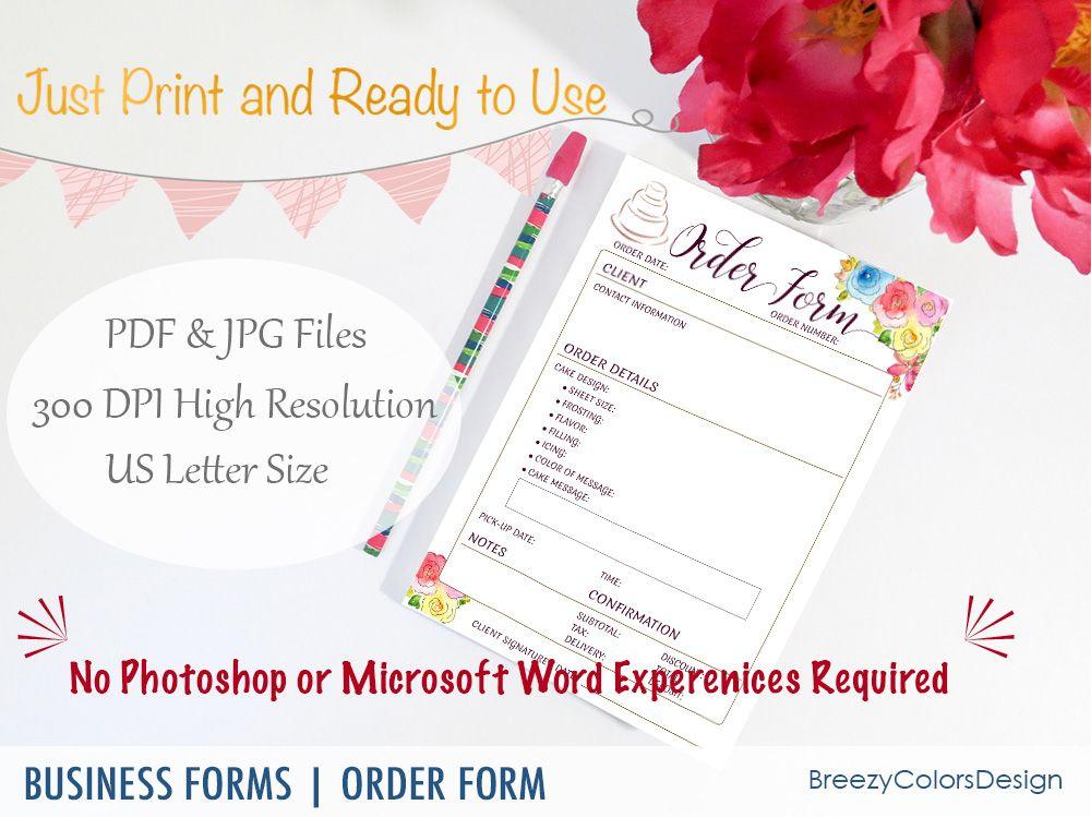 Cake Order Form For Bakery Business Custom Menu Printable