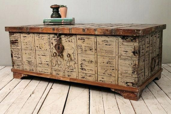 Reclaimed Salvaged Antique Indian Wood Iron And Brass Wedding Trunk Coffee Table Storag Antique Trunk Coffee Table Coffee Table Trunk Coffee Table With Storage