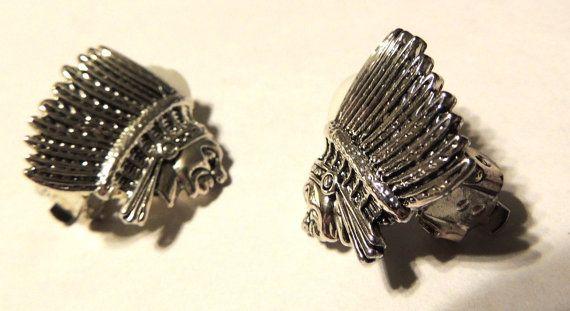 Indian Head Vintage Earrings Silver Clip On Vintage Jewelry