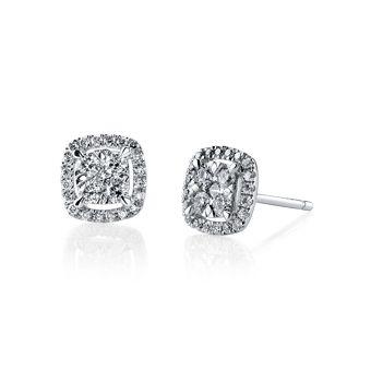 14k White Gold Diamond Earrings 1 2 Carat Total Weight