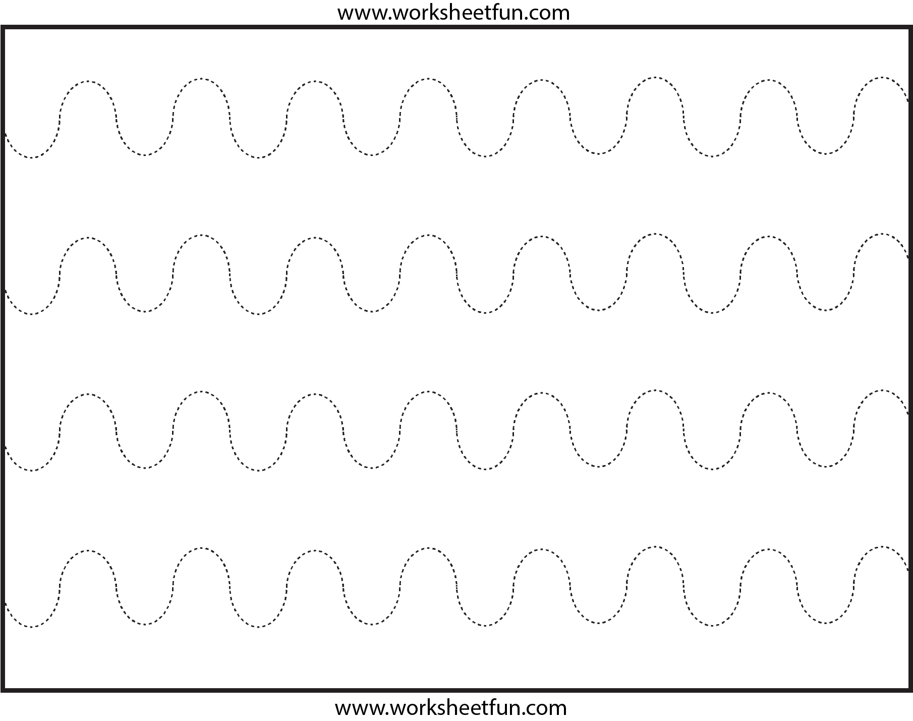 Curved Line Tracing 4 Worksheets
