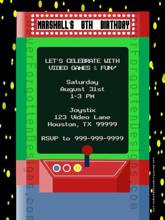 Arcade Video Game Birthday Party Invitations – Video Game Party Invitation