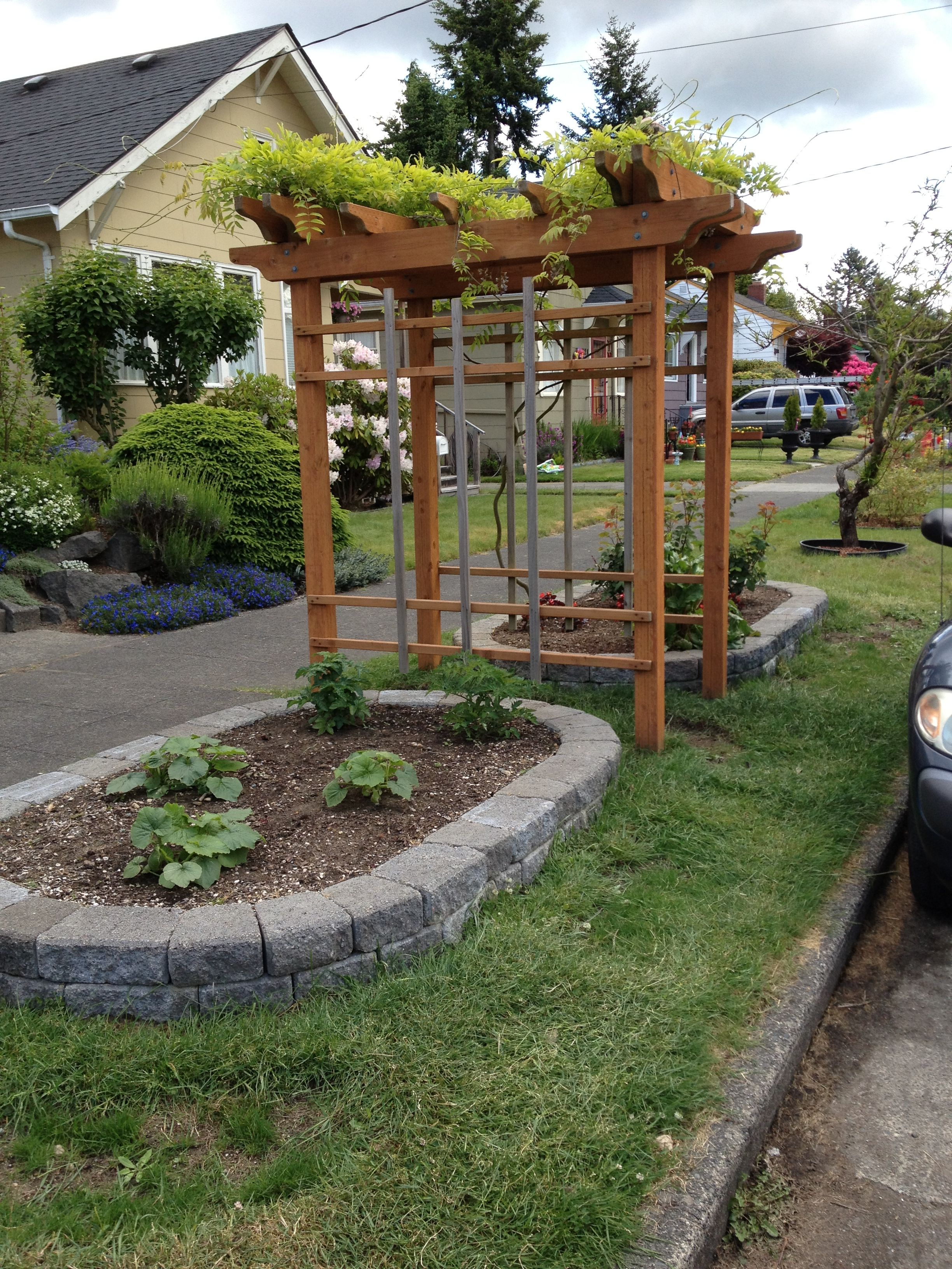 Elegant Parking Strip Arbor Combine This With An Arbor In The Yard To Create A Hop Vine Pathway Garden Design Garden Arch Garden Art