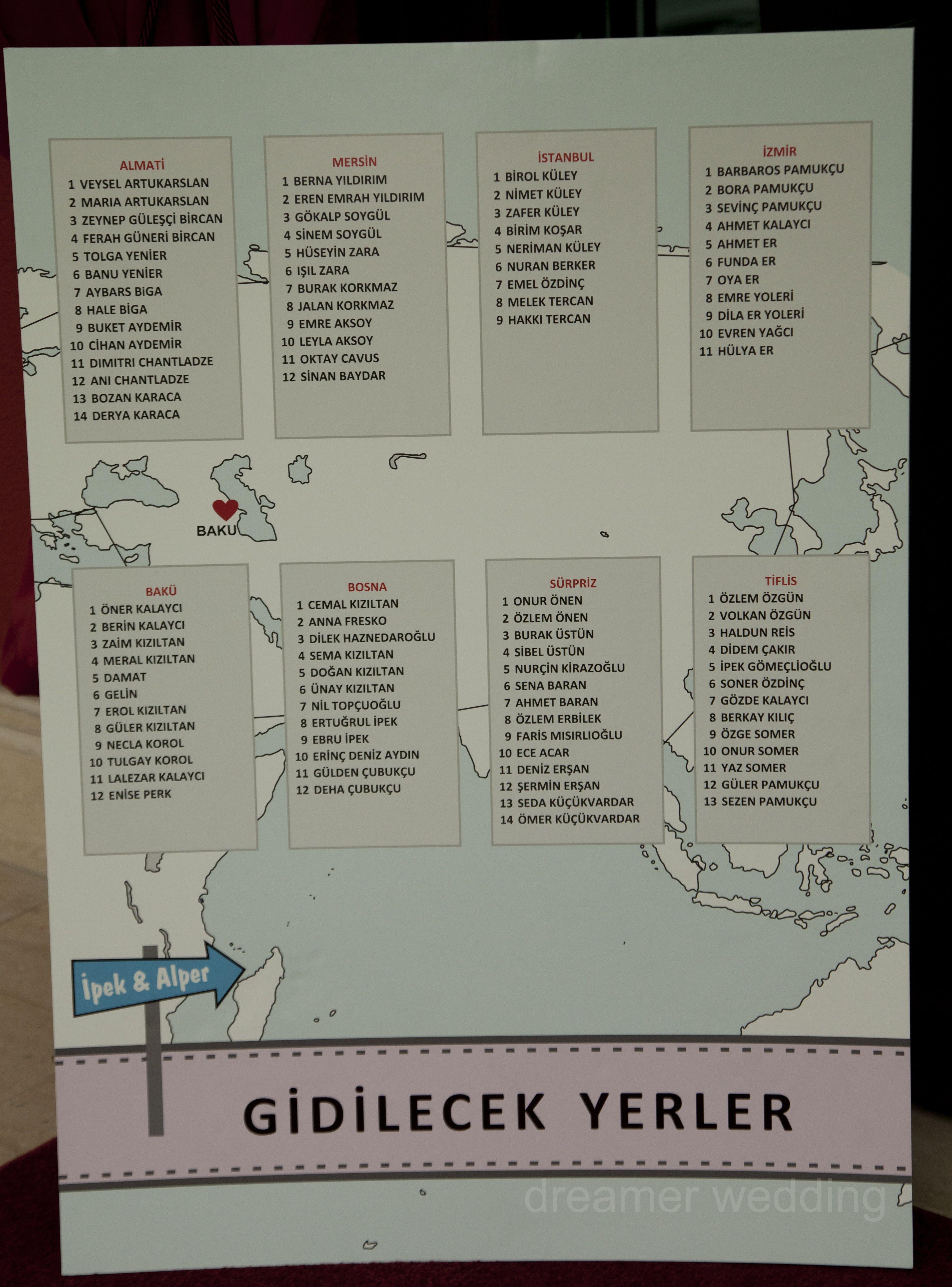 Wedding seating plan-destination wedding Baku