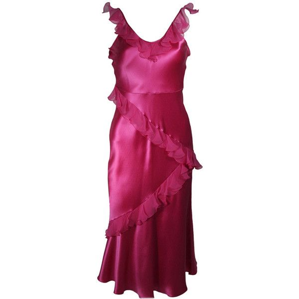 Preowned Christina Dior Ruffled Pink Silk Chiffon Dress Size Xs (€715) ❤ liked on Polyvore featuring dresses, pink, john galliano dresses, preowned dresses, frilly dresses, pink slip dress and pink purple dress