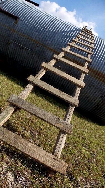 Antique Primitive Wood Barn Roof Ladder Pine Poles Rustic ...