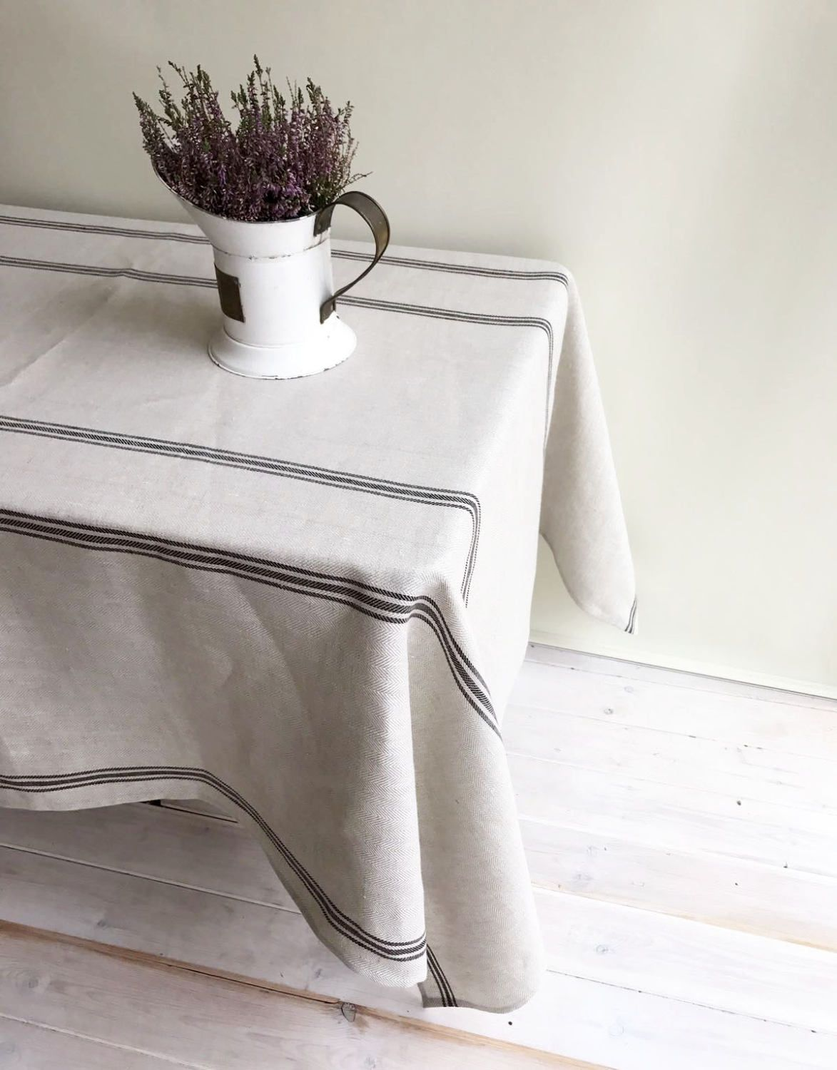 Striped Rustic Linen Tablecloth French Country Ticking Tablecloth