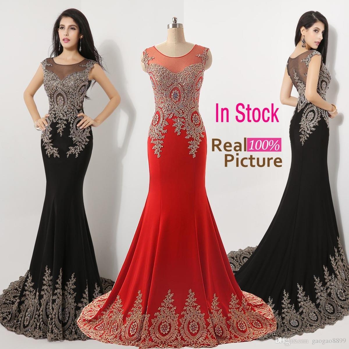 73c516b3dc 2019 Sheer Neck Black Red Formal Evening Prom Dresses Beads Real ...
