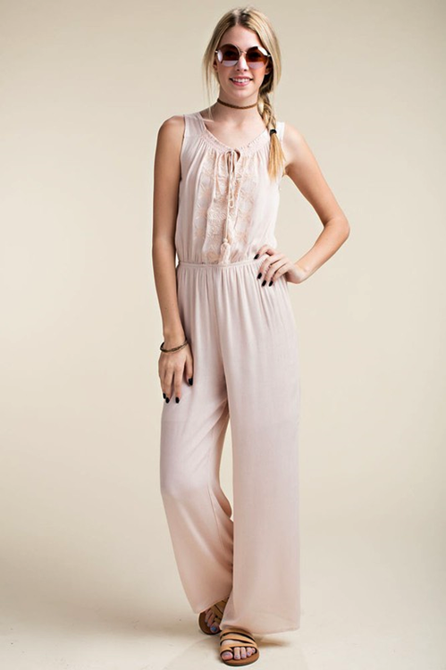 1966b0531667 Casual Embroidered Jumpsuit - Light Pink