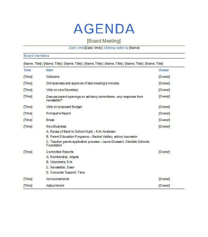Meeting agenda template in microsoft word format provides sample form to document topics being discussed, materials needed, or items to read before meeting. Meeting Agenda Template 363 Meeting Agenda Template Agenda Template Meeting Agenda