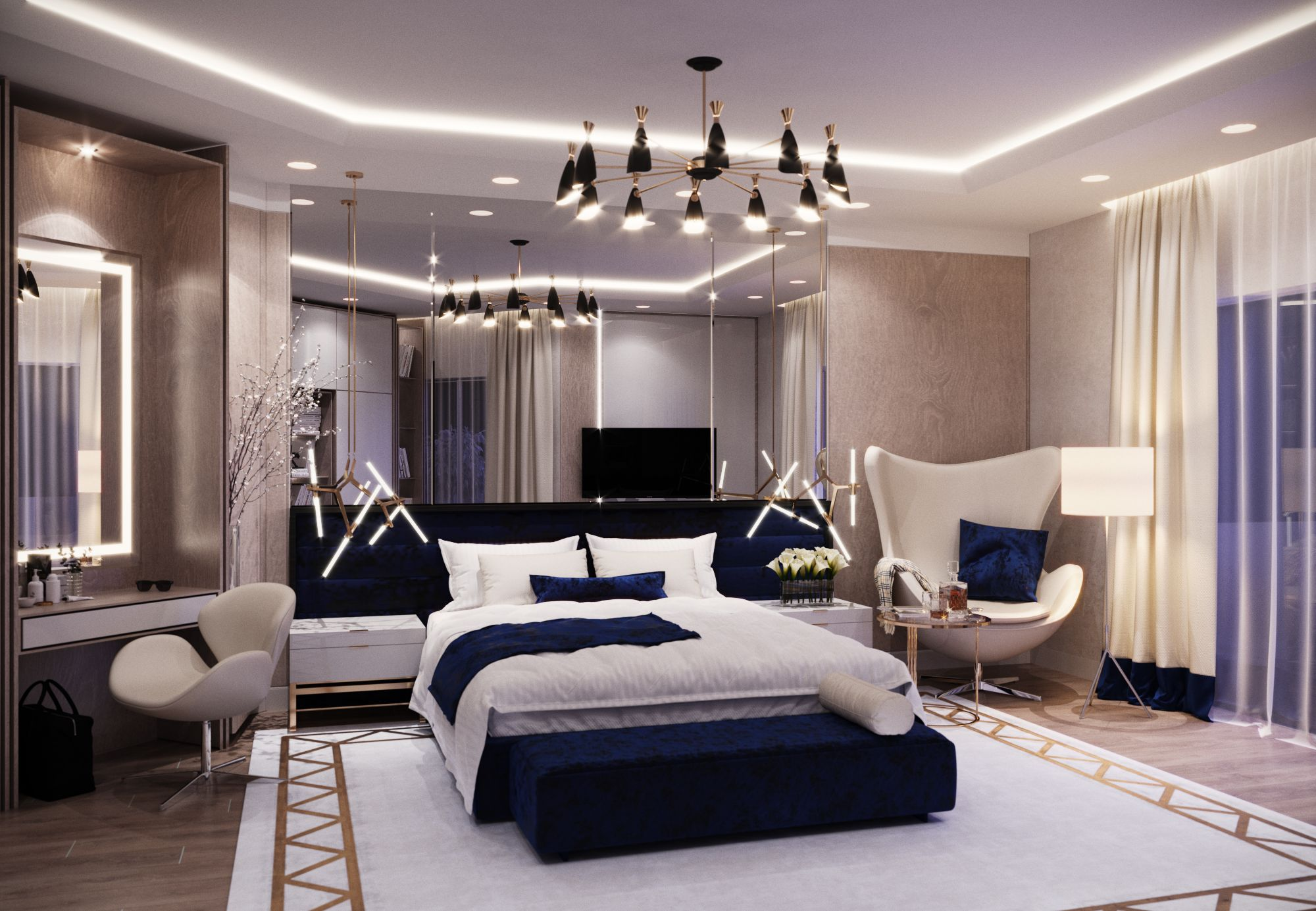 bedroom ideas, bedroom, blue, white, master bedroom, home ...