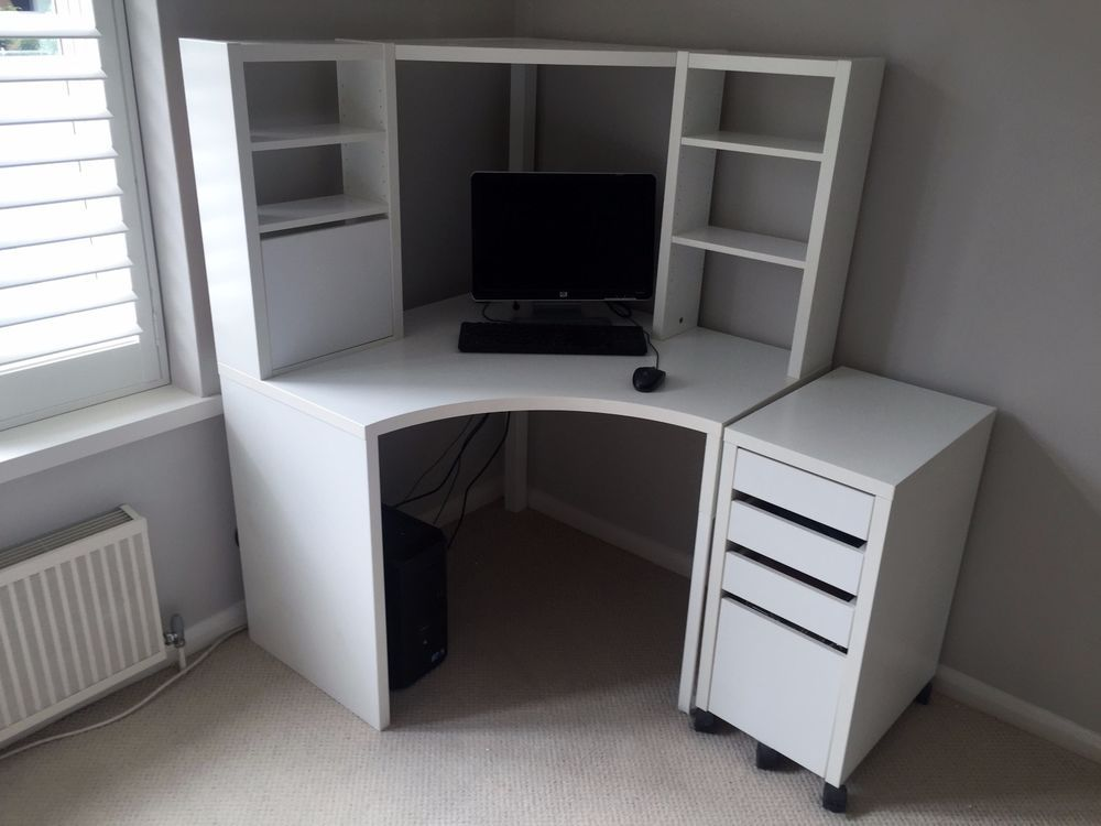 Ikea micke corner workstation in white with matching for White desk with hutch ikea