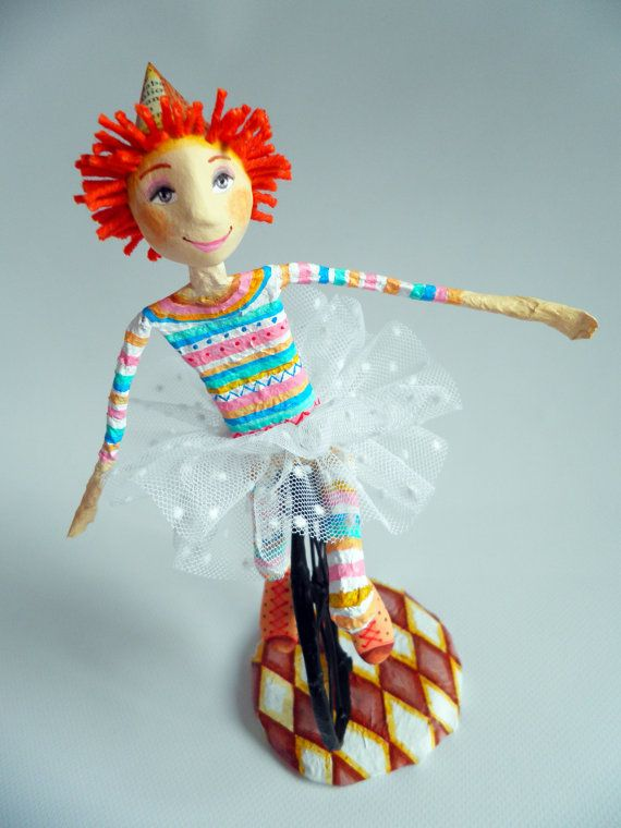 Clown on unicylce  cartapesta and air dry clay by ninotas on Etsy