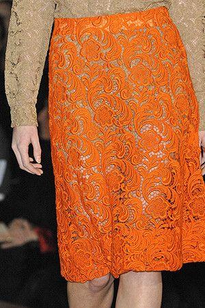 Orange Lace Skirt - Prada