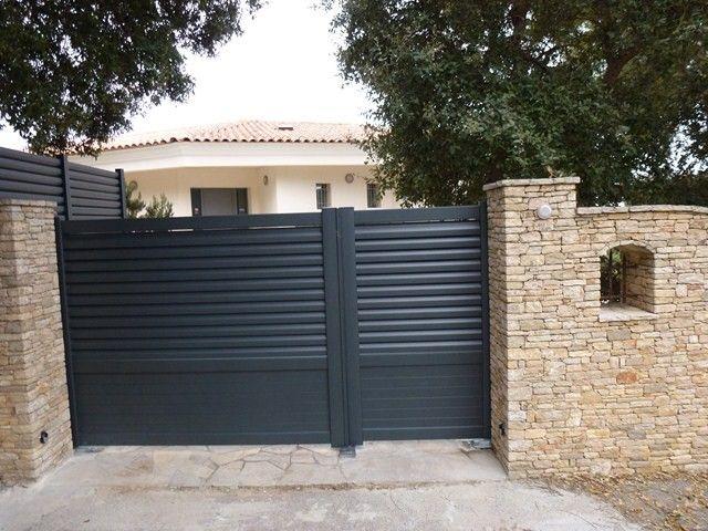 portail aluminium gregale lames horizontales 1 3 2 3 portail aluminium portails portes de. Black Bedroom Furniture Sets. Home Design Ideas