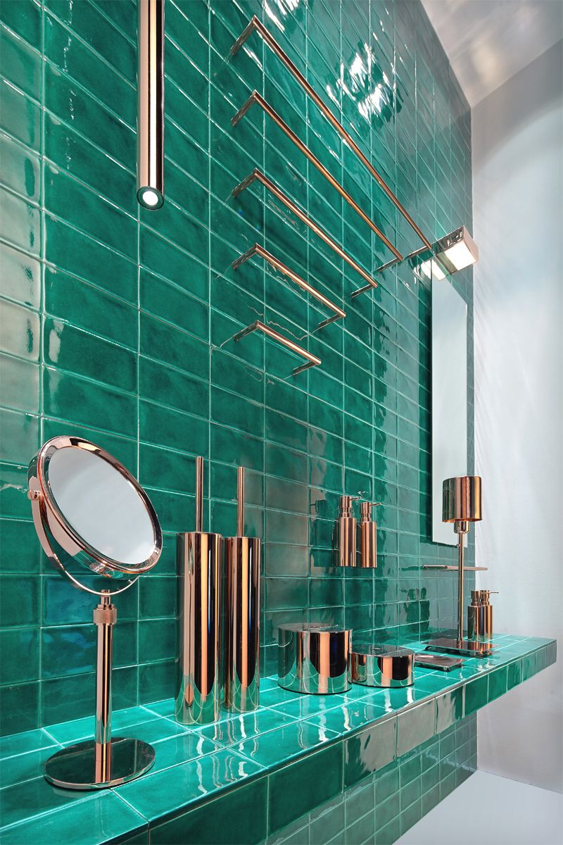 Blue Turquoise Green Kitchen And Bathroom Tiles: Copper With Aqua For A Green Kitchen