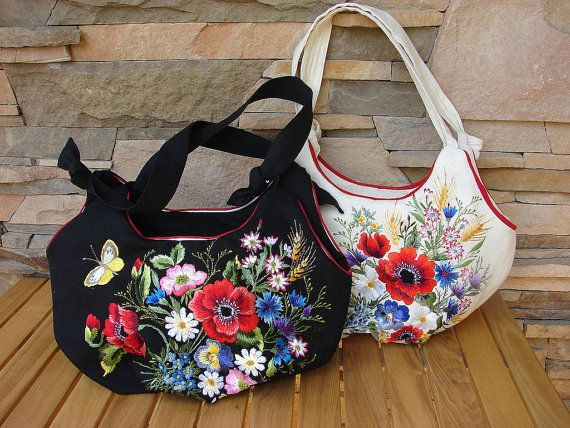 Items similar to Hand embroidered bag with flowers