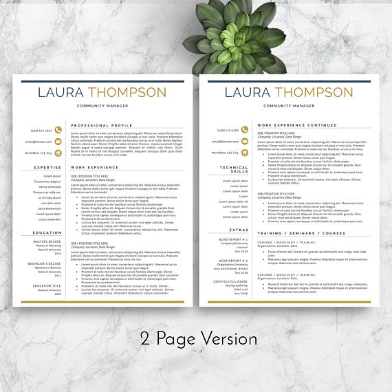 Resume Template Modern Resume Template Professional Resume - professional cv template