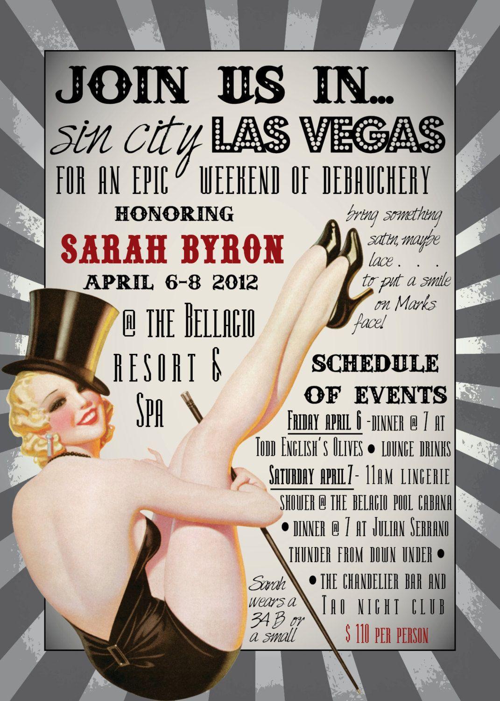 DIY Printable VEGAS Burlesque Bachelorette Party Invitation ...
