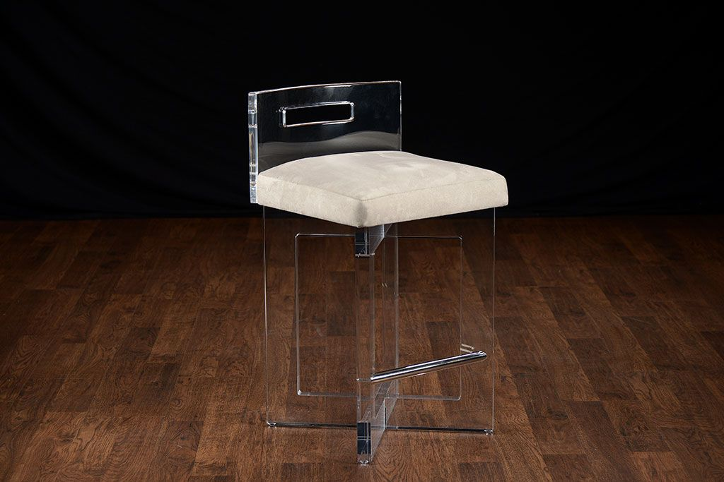 Lucite Counter Stool With Upholstered Microsuede Seat And Stainless Steel  Foot Rest Available In A Variety Of Microsuede Colors Also Available In  Custom ...