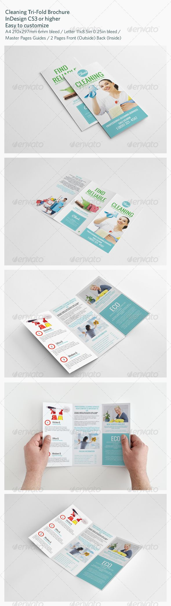 Cleaning TriFold Brochure Tri Fold Brochure Brochures And - Tri fold brochure indesign template