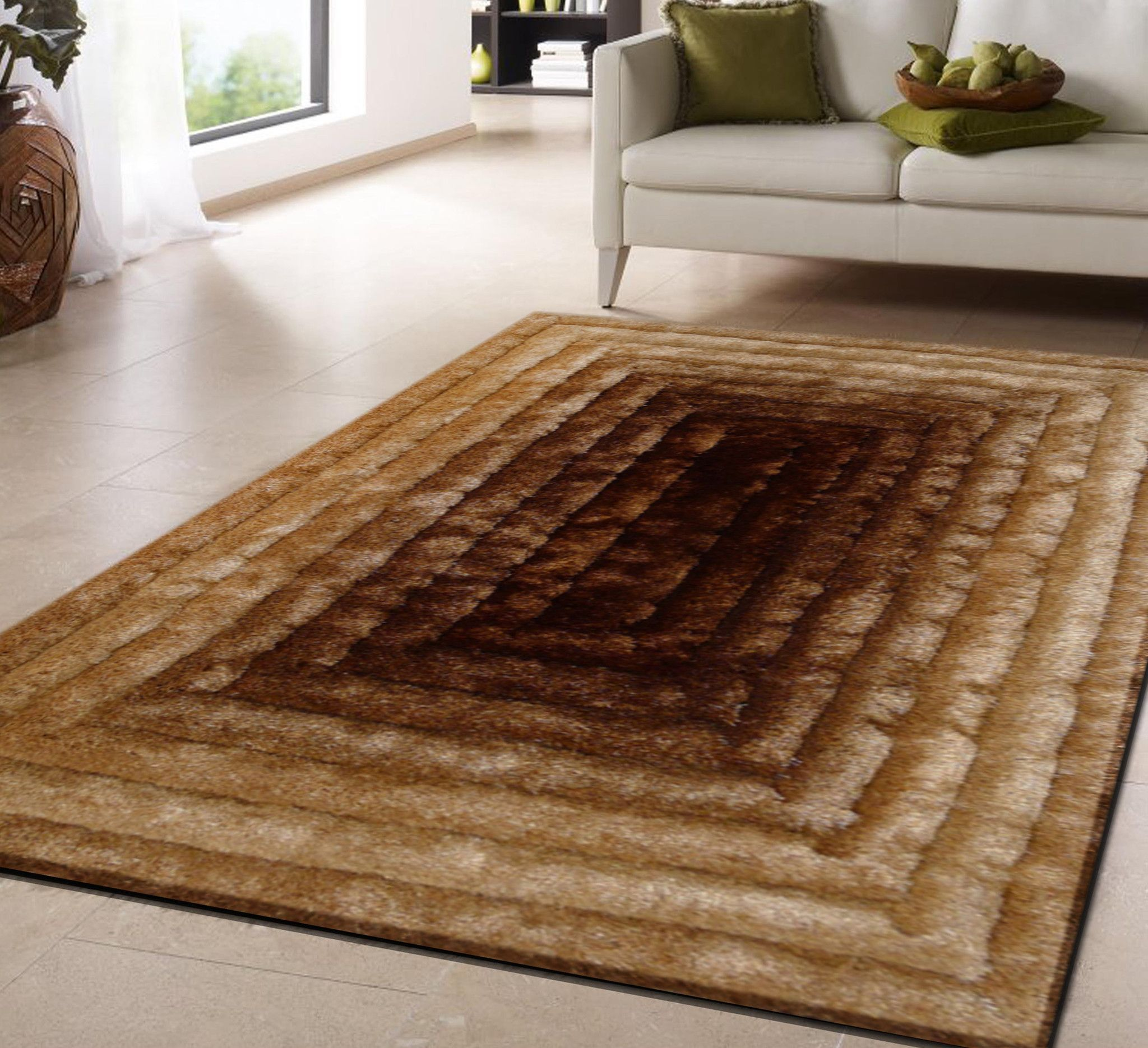 Handmade Vibrant Gold Brown 3 Dimensional Shag Area Rug With Hand