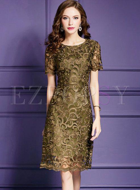 2c02014b7f03d Dark Green High Waist Embroidery Plus Size Dress in 2019 | dresses ...