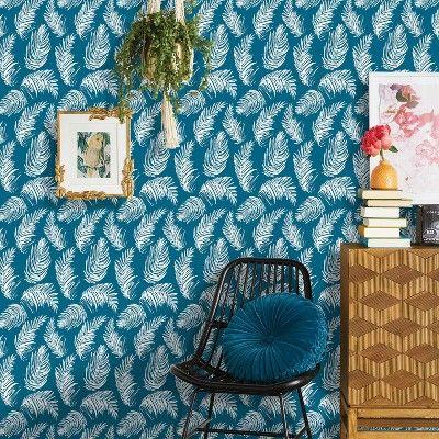 Sketched Palm Peel Stick Wallpaper Blue Opalhouse Peel And Stick Wallpaper Accent Walls In Living Room Wallpaper Stencil