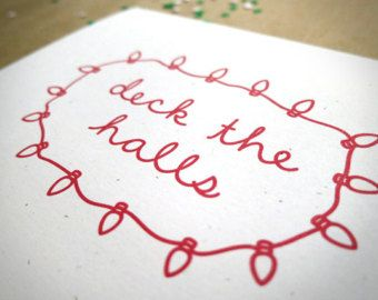 deck the halls christmas card recycled eco friendly christmas carol script card - Christmas Carol Script