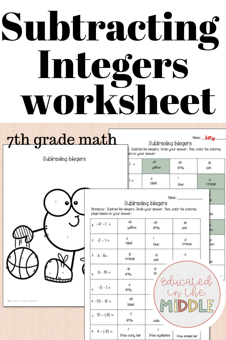 Subtracting Integers Worksheet color by number (With