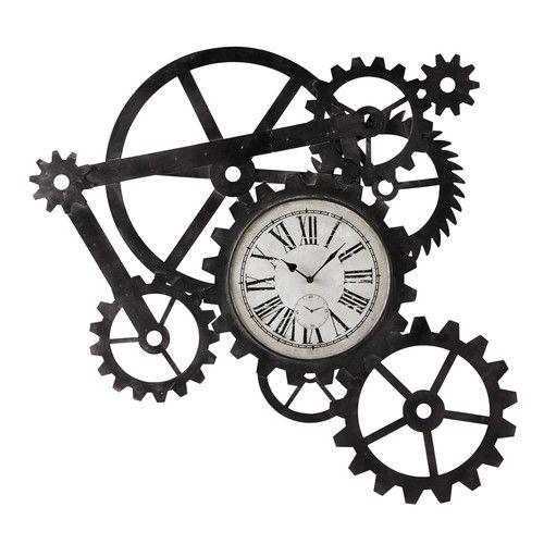 horloge indus en métal l 86 cm engrenage horloge