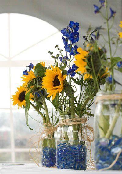 DIY Sunflower In Mason Jar Wedding Reception Centerpieces