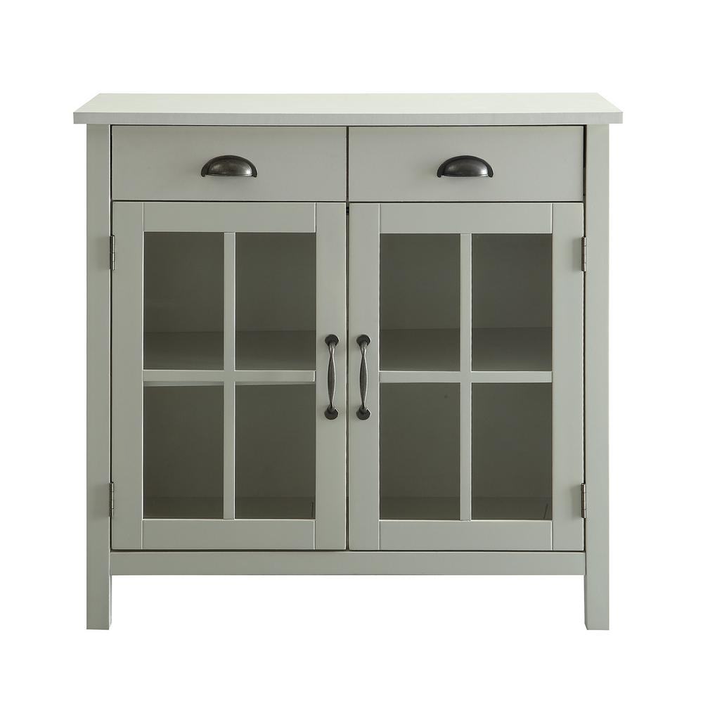 Best Usl Olivia White Accent Cabinet 2 Glass Doors And 2 400 x 300