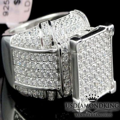 18K WHITE GOLD GF MENS GENTS SQUARE SIGNITY DIAMONDS WEDDING ETERNITY BAND RINGS