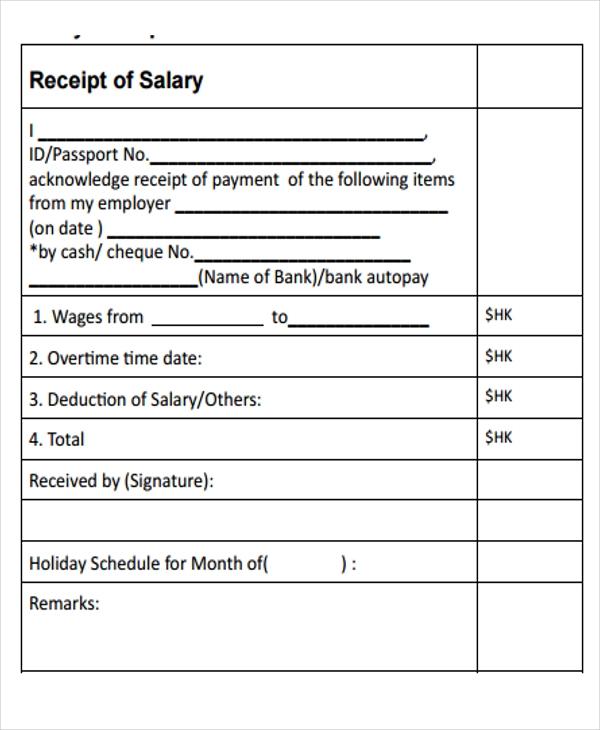 12 Free Printable Salary Templates Word Excel Pdf Hr Samples Receipt Template Template Free Templates