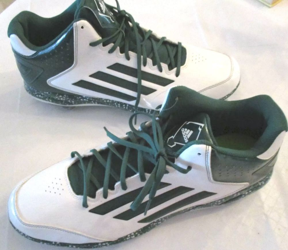 ADIDAS MEN'S BASEBALL CLEATS SPG 753001 SIZE 15 GREEN & WHITE–NEW NO BOX