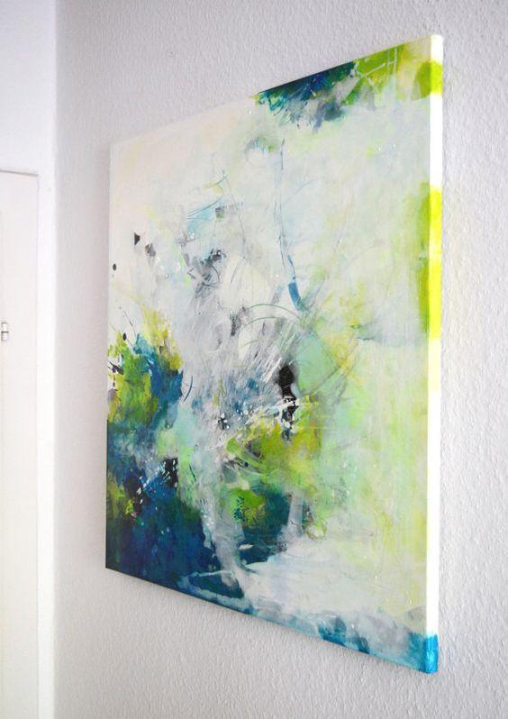 Paar 2 Mini Original Kunstwerke Acryl Gemalde Abstrakte Kunst