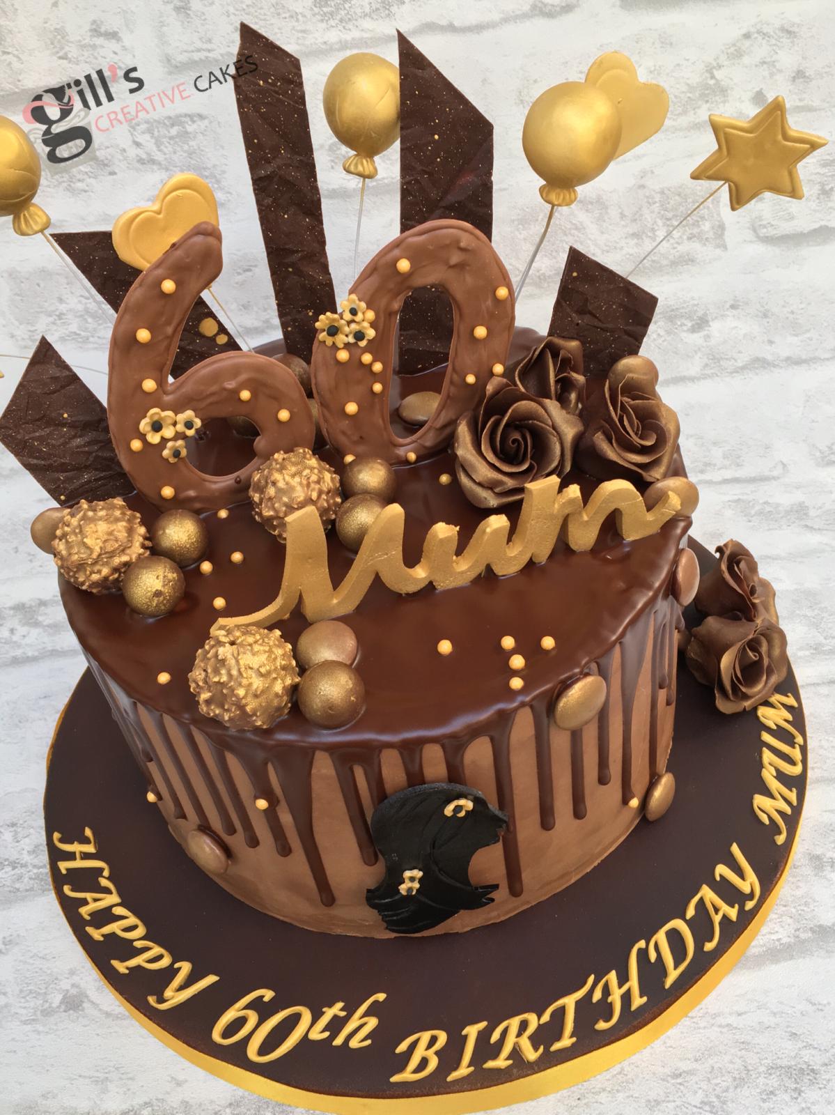 60th Chocolate Drip Birthday Cake With Chocolate Shards