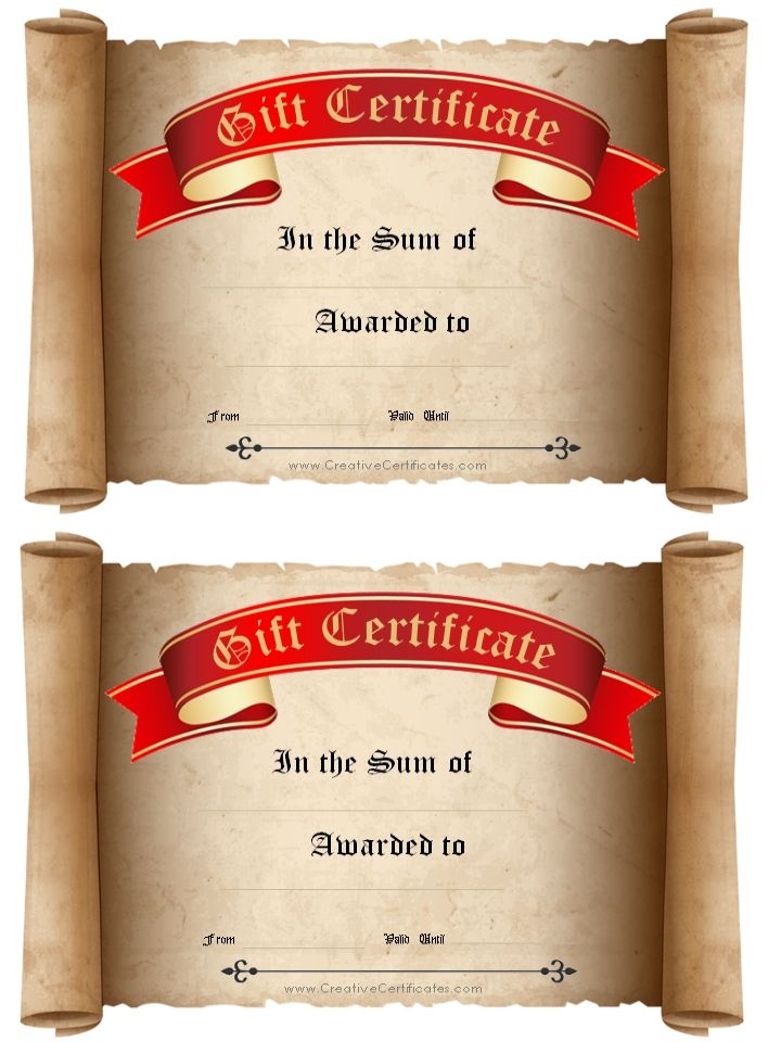 Scroll With Red And Gold Ribbon Diy Gift Certificate Pinterest
