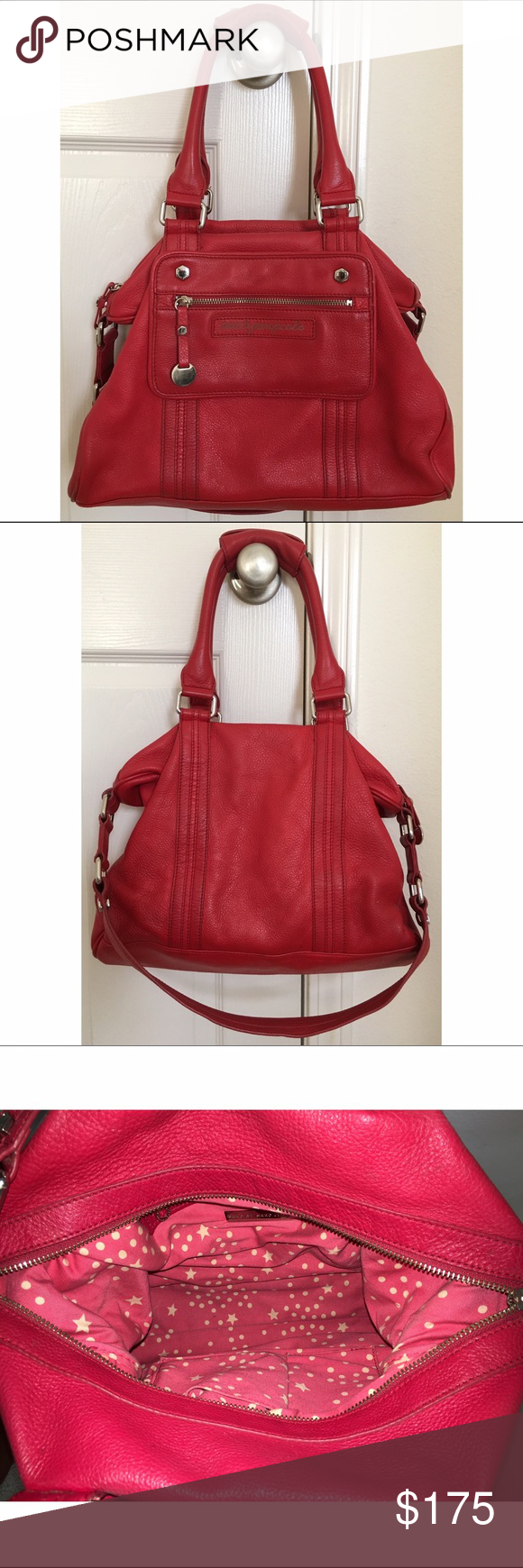 Marc by Marc Jacobs purse Red purse with silver accents by Mark Jacobs. Comes with shoulder handle/strap. It has an inner zipped pocket and two other pockets on the opposite side that can hold small items such as lipgloss, etc. The two handles can be buckled together to make it easier to carry. Used occasionally, in very good condition! Marc by Marc Jacobs Bags