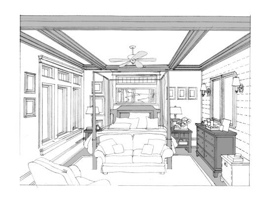 Kitchen plan and perspective sketch renderings in 2019 - One point perspective drawing living room ...