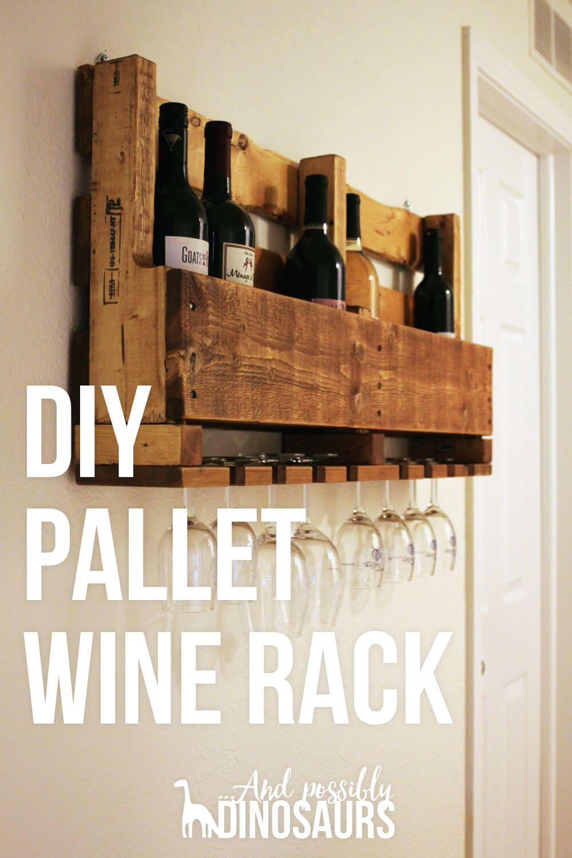 DIY Wine Rack from a Pallet   Estantes de vino, Las cazuelas y Botellero