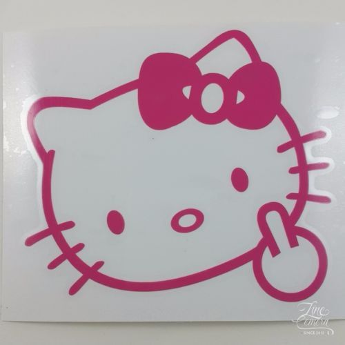 HELLOKITTYMIDDLEFINGERFLIPOFFCARDECALSTICKERVINYLLOGO - Hello kitty custom vinyl decals for car